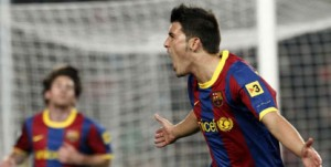 david villa celebrating his goal against Malaga FC