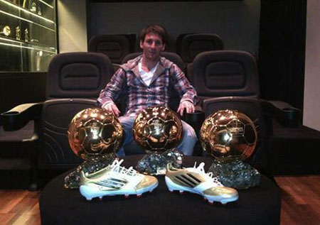 lionel messi with hs 3 ballon d'or awards