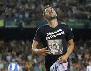 david villa celebrating his comeback