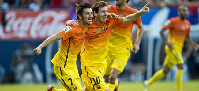 villa and messi celebrate against osasuna