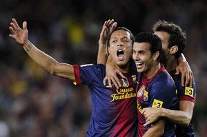 adriano celebrates his goal against valencia