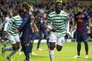 wanyama celebrating his goal against barcelona