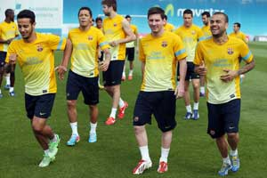 Messi training with the squad