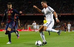 Gerard Pique and Ronaldo
