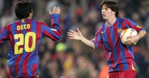 deco and messi barcelona fc