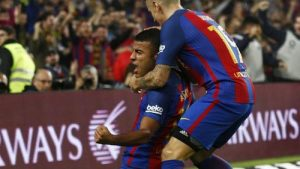 Rafinha celebrates his goal at the Barcelona stadium